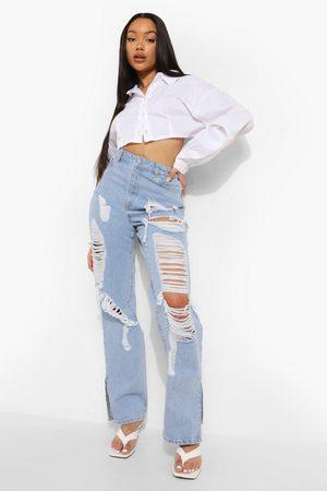 Boohoo Womens Extreme Distressed High Waist Split Hem Jeans - - 2