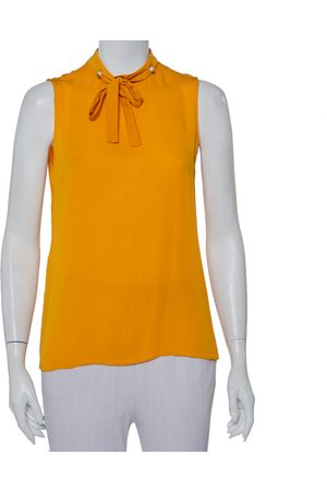 Gucci Women Tank Tops - Mustard Silk Pearl Buttoned Neck Tie Detail Sleeveless Top M