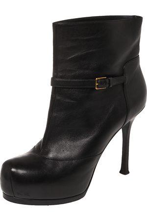 Saint Laurent Leather Tribtoo Platform Ankle Boots Size 38