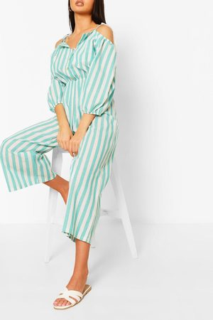 Boohoo Women Jumpsuits - Womens Linen Stripe Button Off The Shoulder Jumpsuit - - 4