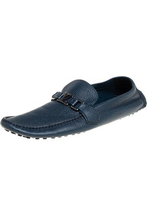 LOUIS VUITTON Leather Hockenheim Slip On Loafers Size 44.5