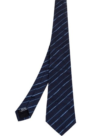 Dolce & Gabbana Navy Logo Striped Silk Tie