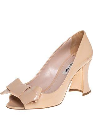 Miu Miu Patent Leather Bow Peep Toe Block Heel Pumps Size 37.5