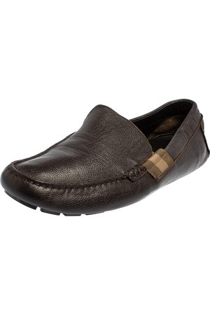 Gucci Dark Leather Slip On Loafers Size 43.5
