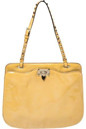 VALENTINO Patent Leather Rockstud Strap Shoulder Bag