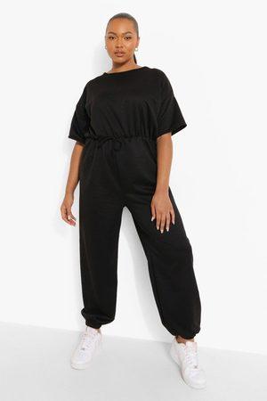 Boohoo Women Jumpsuits - Womens Plus Loopback Short Sleeve Cuffed Jumpsuit - - 12