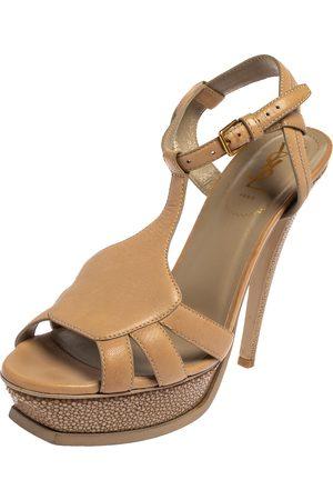 Saint Laurent Saint Laurent Leather and Textured Leather Ankle Strap Platform Sandals Size 40