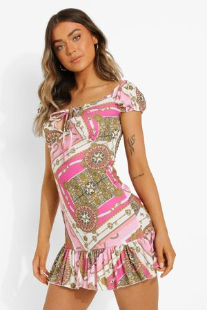 Boohoo Womens Scarf Print Bardot Tie Bust Skater Dress - - 4