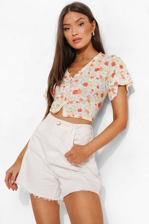 Boohoo Womens Printed Button Up V Neck Top - - 2