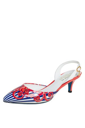 LORIBLU Patent Leather Slingback Sandals 36