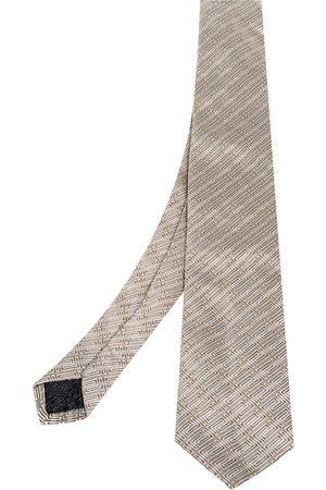 VERSACE Greek Key Stripe Pattern Silk Tie