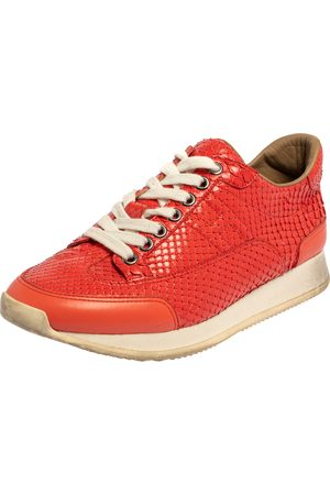 Hermès Hermès Coral Python and Leather Trail Low Top Sneakers Size 36.5