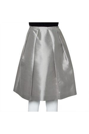 Prada Grey Silk Pleated Knee Length Skirt M