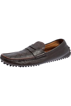 Gucci Diamante Leather Penny Loafers Size 42