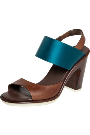 Tod's Two Tone Leather And Satin Block Heel Sandals Size 40
