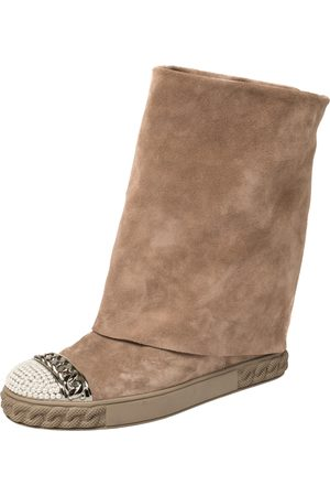 Casadei Suede Pearl And Chain Cap Toe Fold-over Wedge Boots Size 38