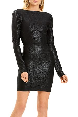 Hervé Léger Disco Knit Shimmer Open-Back Mini Dress