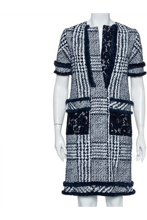 CH Carolina Herrera Indigo Painted Tweed Lace Detail Shift Dress S