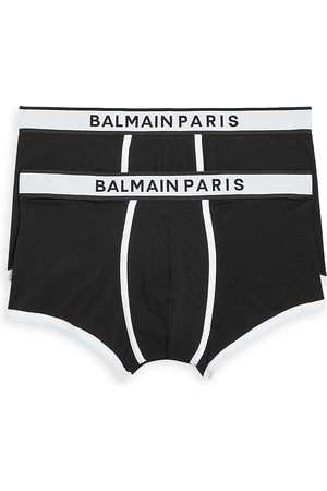 Balmain Men Underwear - Cotton Blend Contrast Trim Trunks, Pack of 2