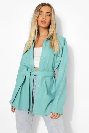 Boohoo Women Leather Jackets - Womens Belted Faux Leather Utility Jacket - - 4