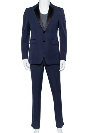 Burberry Navy Wool Contrast Satin Trim Detail Millbank Tuxedo Suit M