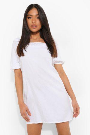 Boohoo Women Party Dresses - Womens Petite Puff Sleeve Denim Mini Dress - - 2