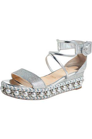 Christian Louboutin Lurex Fabric Chocazeppa Wedge Platform Espadrille Sandals Size 39
