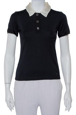 CH Carolina Herrera Knit Contrast Trim Detail Polo T-Shirt XS