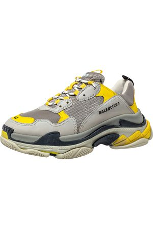 Balenciaga Grey/Yellow Nubuck, Leather And Mesh Triple S Trainer Sneakers Size 42