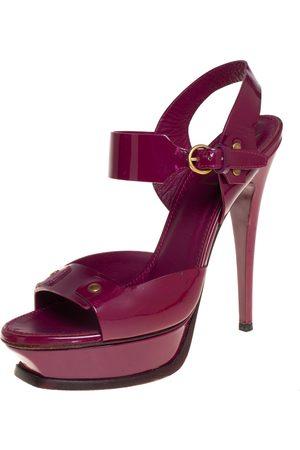 Saint Laurent Saint Laurent Patent Leather Ankle Strap Platform Sandals Size 39.5