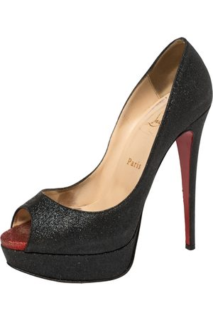 Christian Louboutin Dark Grey Glitter Fabric Lady Peep Toe Platform Pumps Size 38