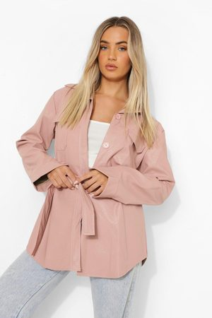 Boohoo Womens Belted Faux Leather Utility Jacket - - 4