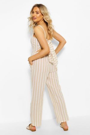 Boohoo Womens Linen Stripe Tie Back Jumpsuit - - 4