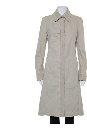 CHANEL Grey Denim Button Front Collared Coat L