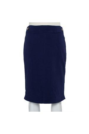 VERSACE Women Pencil Skirts - Navy Stretch Crepe Medusa Button Detail Pencil Skirt S