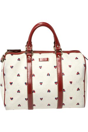 Gucci /White Coated Canvas and Patent Leather Medium Heart Joy Boston Bag