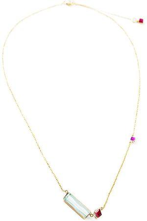 Yi Collection Women's 18K Gold; Aquamarine And Ruby Necklace - - Moda Operandi