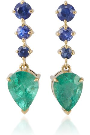 Yi Collection Women Earrings - Women's 18K Gold; Emerald And Sapphire Arrow Earrings - - Moda Operandi