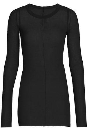 Rick Owens Women's Long-Sleeve Ribbed Stretch Silk T-Shirt - - Size 6