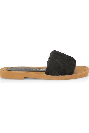 Stuart Weitzman Women's Cammy Shearling-Strap Slide Sandals - - Size 9.5