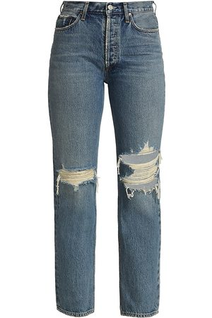 AGOLDE Women's Lana Low-Rise Distressed Jeans - Backdrop Medium Indigo - Size 29