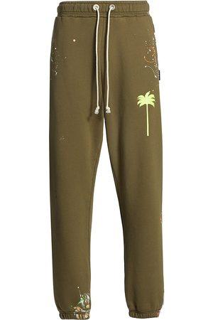 Palm Angels Men Sweatpants - Men's PXP Painted Sweatpants - Military - Size XS