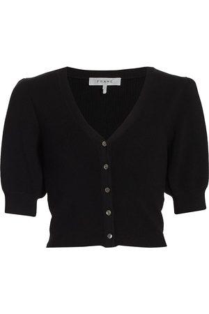 Frame Women's Jocelyn Puff-Sleeve Cardigan - Noir - Size XS
