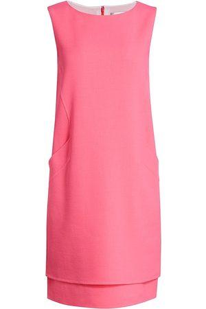 Oscar de la Renta Women's Sleeveless Pocket Shift Dress - Hibiscus - Size 8