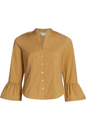 VERONICA BEARD Women's Bab Flared-Cuff Shirt - Khaki - Size 4