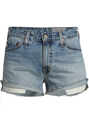AG Jeans Women Sports Shorts - Women's Turner Raw-Edge Denim Boyfriend Shorts - 18 Years Creekside - Size 27