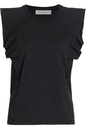 Frame Women's Summer Ruffle T-Shirt - Noir - Size Medium