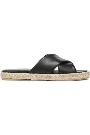 Vince Women's Selene Leather Crosscross Espadrille Slide Sandals - - Size 9