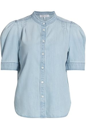 Frame Women's Charlie Puff-Sleeve Denim Shirt - Edie - Size XL