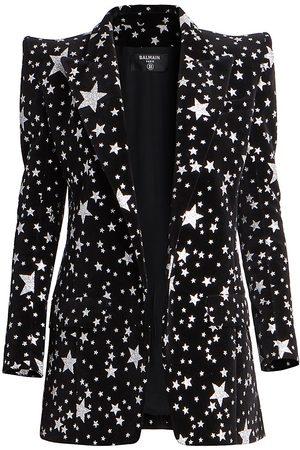 Balmain Women's Glitter Star Velvet Jacket - Noir - Size 4